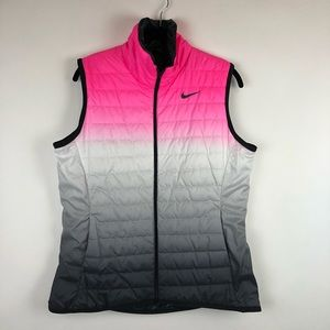 Brand New Nike Pink Ombré Quilted Vest Large Golf